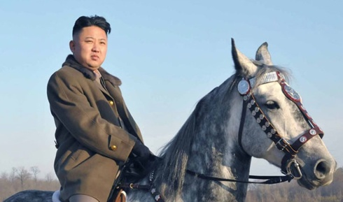 Kim Jong Un on horse repeatedlly depicted in state media since he assumed power one year ago