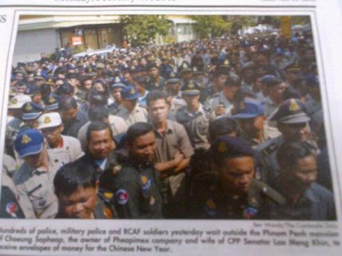 Hundreds of Soldiers and Police gather Outside Home of Corrupt Cambodian Crime Syndicate Seeking Chinese New Years Cash
