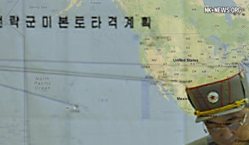 Superimposed U.S. map on NK propaganda photo with blank map outline with arrows