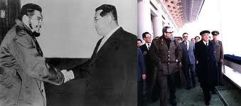 Kim Il Sung with Che(l) and Castro (r)