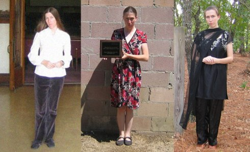 The many shades of Jillian Hoy: (L) Jillian Hoy in a photo  taken during a pilgrimage to visit the former church headquarters of Jim Jones's Peoples Temple in Los Angeles, (C) Hoy holds an RPP plaque devoted to Kim Jong Il and poses for a photo (R) Hoy in her guise as a Hindu preistess
