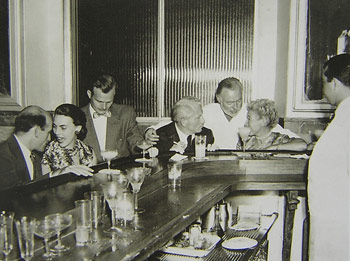 Spencer Tracy, Ernest Hemingway and Margaret Gelhorn at the Floridita bar in Havana