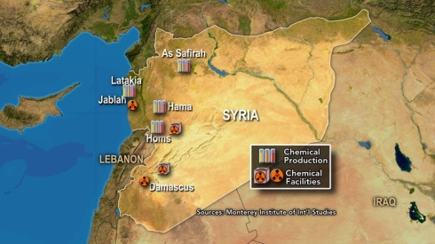 Chemical weapons site in Syria where North Korean technical advisers are based ( Map by the James Martin Center for Nonproliferation Studies