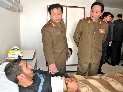 North Korean officers visit Syrian government wounded soldiers in Damascus hospital in 2012 (Photo: SANA/North Korean Leadership Watch/Michael Madden)