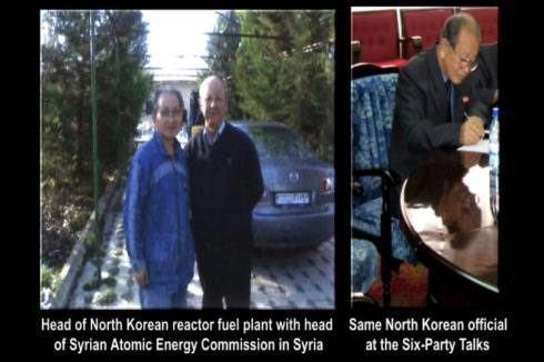 North Korean  Chon Chibu, nuclear engineer in charge of the Yongbyan nuclear processing plant with the head of Syrian Atomic Energy Agency in Syria. Note Syrian license plates on vehicle in background (Photo CIA)