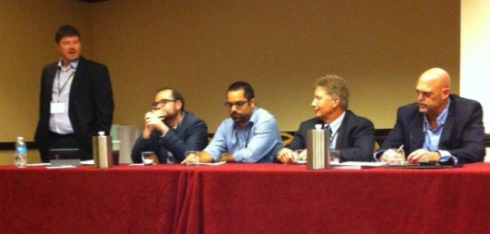 Left to right: Kevin Lerner (Marist College), Matt Yglesias (Slate), Mike Madden (Washington City Paper), Kevin Stoker (Texas Tech University), Nate Thayer (Freelance Journalist); (photo by Elizabeth Hendrickson)