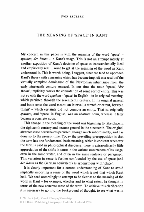 "The meaning of ""Space"" in Kant"